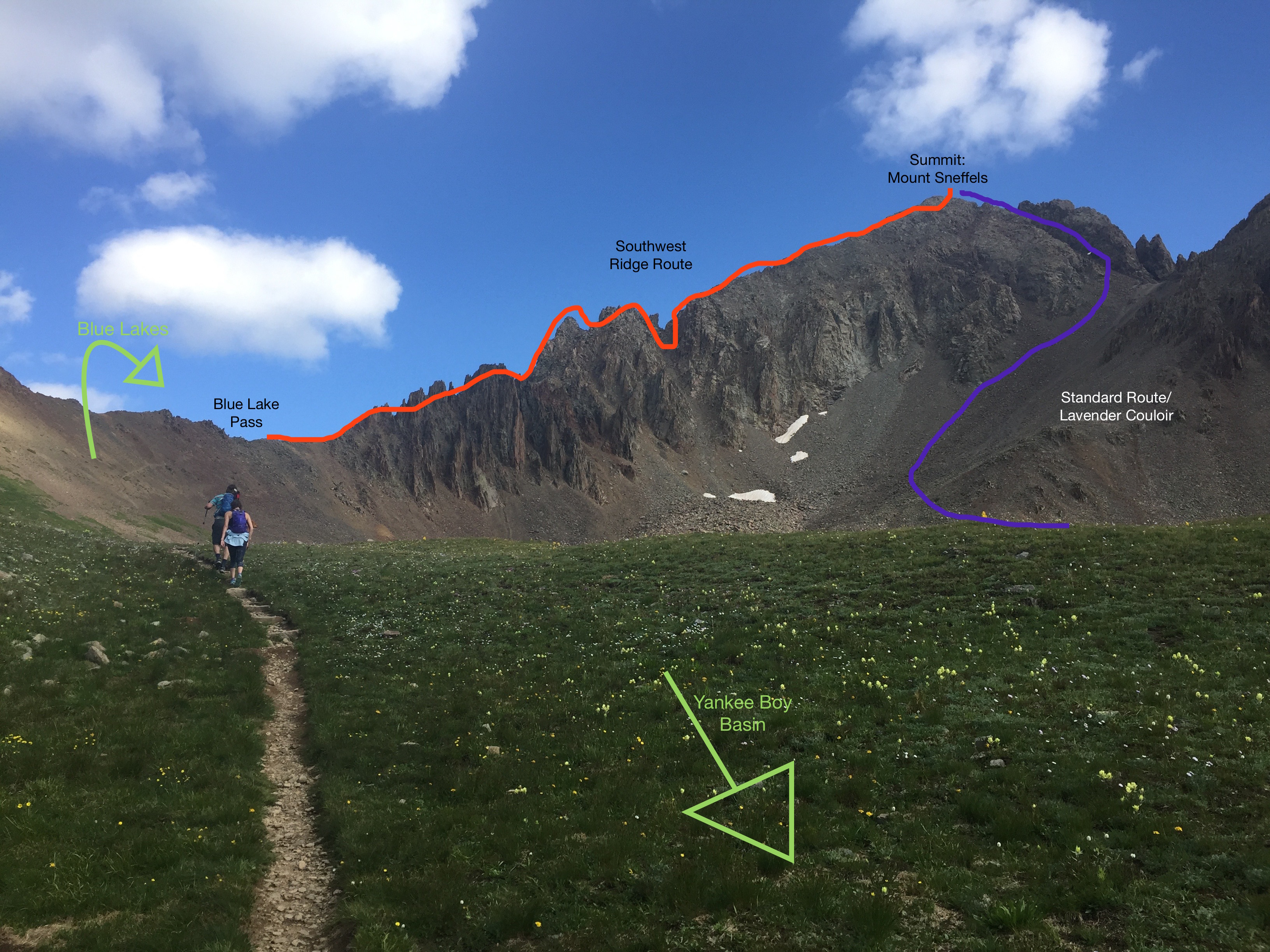 Mount Sneffels Hiking Trail Map